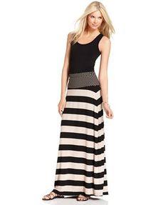 Calvin Klein Skirt, Multi-Stripe Foldover-Waist Maxi