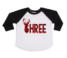DISCOUNT code ANNABELLE15 to save on your entire purchase!   Third Birthday Buffalo Plaid Shirt - Birthday Shirt - Three - Lumberjack Shirt - THREE - Red Buffalo - Plaid - Deer Antlers - Antlers Shirts by VazzieTees on Etsy https://www.etsy.com/listing/468746026/third-birthday-buffalo-plaid-shirt