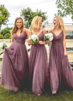 Tulle V Neck Affordable Floor Length Bridesmaid Dresses