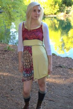 Patchwork Jersey tank dress M/L fits sizes by dramatiquedesigns, $78.00