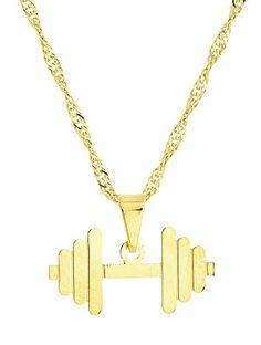 DESCRIÇÃO: Gargantilha e pingente folheados a ouro. Pingente em forma de um haltere de musculação.