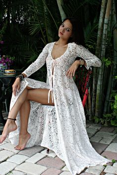 Sheer Lace Tie Front Nightgown With Panties