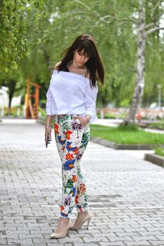 Spring Mood | Off-the-shoulder top | Printed trousers Zara – #Cvetybaby http://cvetybaby.com/spring-mood/ #fashion #fblogger #blogger #blog #ootd