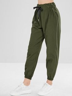 Plain High Waisted Jogger Pants - Army Green S Girls Fashion Clothes, Teen Fashion Outfits, Fashion Women, Trousers Women, Pants For Women, Cute Sweatpants Outfit, Jugend Mode Outfits, Tomboy Fashion, Ski Fashion