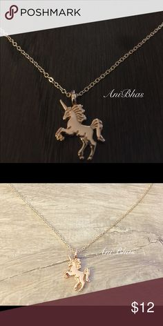 Unicorn Horse Gold Tone Chain Necklace Unicorn Horse Gold Tone Chain Necklace  Make a wish and put on your necklace.  With an open mind and positive spirit, life is truly magical. Wear your necklace as a reminder to believe in the extraordinary. Jewelry Necklaces