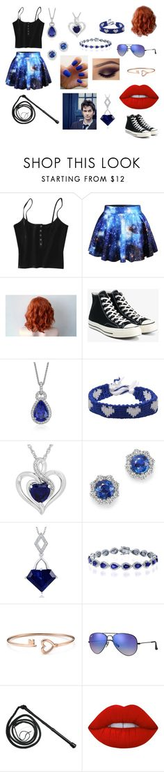 """""""Peyton Spray"""" by jessaggie ❤ liked on Polyvore featuring WithChic, Converse, Blue Nile, Marc Jacobs, Bloomingdale's, Glitzy Rocks, Ray-Ban, Lime Crime and INC International Concepts"""