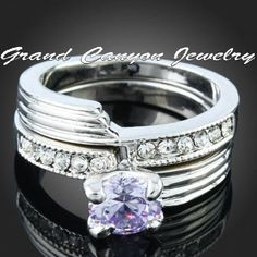 '18kt WG Bridal Set w Lab Tanzanite & Swarovski Crystas ' is going up for auction at  2pm Wed, Apr 3 with a starting bid of $10.