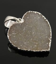 Dazzling Druzy Heart Pendant in Earth Tones, Single Bail Silver Electroplated Edge, 26x26mm, A+ Gorgeous Quality,  (SS-DZY/PDT/103) by Beadspoint on Etsy