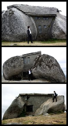 """STONE HOUSE }{}{ Located in the Fafe mountains of northern Portugal, A Casa do Penedo, or """"the House of Stone,"""" was built between four large boulders found on the site. Although the house may seem rustic, it is not lacking in amenities, which include a fireplace and a swimming pool carved out of one of the large rocks."""