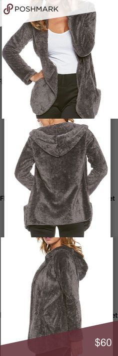 COMING SOON! Gray Plush Open Cardigan Hoodie So cozy and so soft! This will be your new comfort piece! I am obsessed with these! So cute, figure flattering and did I mention soft? See pic 4 for sizing. 100 % polyester. Machine wash. Sweaters