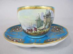 Lot: 760: H80-42 19TH CENTURY JEWELLED SEVRES CUP & SAUCER, Lot Number: 0760, Starting Bid: $400, Auctioneer: Don Presley Auction, Auction: NEW YEARS ANTIQUES & COLLECTIBLES AUCTION, Date: January 1st, 2013 EET
