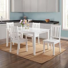 Farmhouse White 5 Pc Dining Table Chairs Set Solid Wood Mission Heavy Duty