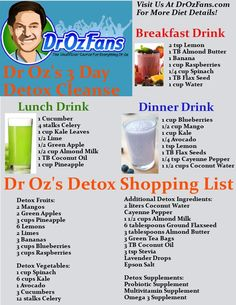 Dr Oz shared his 3 Day Detox Cleanse Shopping List, as well as a list of recipes to make for each of the meal replacements you will need on the plan.