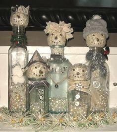 idea for bottle snowmen