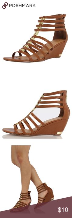 "Tan Strappy Studded Wedge Sandal Cute, always trendy sandal featuring tan faux leather,  strappy cage construction with gold studs, and wedge approx. 2 3/4"". Shoes Sandals"