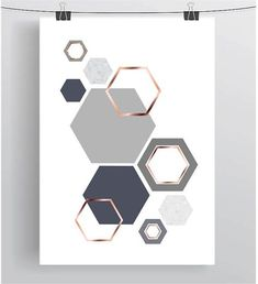 Grey and Rose Gold Print Gray & Copper Wall Art by PrintAvenue