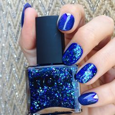 Step 1 Paint each of your nails with two coats of Nars Night Out . Step 2 Next use NCLA Im Really a Mermaid on two of. French Nail Designs, Colorful Nail Designs, Spring Nail Colors, Super Nails, Fabulous Nails, Creative Nails, Gel Manicure, Nail Polish Colors, Blue Nails