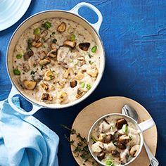Mushroom, Biltong & Potato Chowder Biltong, Stuffed Mushrooms, Stuffed Peppers, Cake Flour, Soups And Stews, Cheeseburger Chowder, Fries, Potatoes, Cooking