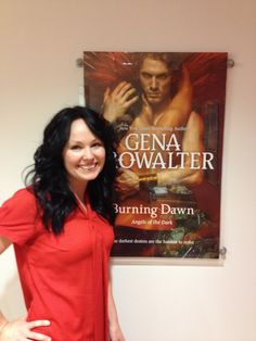 Author Gena Showalter with the cover for BURNING DAWN.