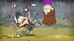 """Lol Dipper is hilarious """"A MIRROR SUIT! NOTHING CAN SNEAK UP ON OLD DIPPER PI-"""" Mabel jumps out and Dip falls """"DIPPER DOWN""""."""