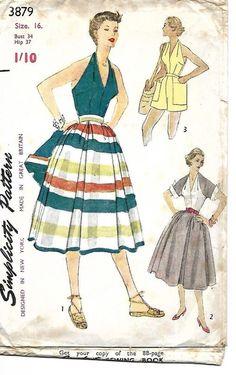 "Vintage 1950's Sewing Pattern Simplicity 3879 Skirt Halter Shorts Shrug B 34"" #Simplicity"
