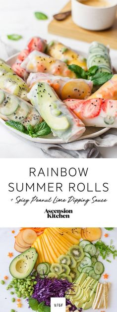Beat the heat with these antioxidant-packed Rainbow Summer Rolls with Spicy Peanut Lime Dipping Sauce. A deliciously vegan recipe. #summerrolls #AscensionKitchen #veganrecipes
