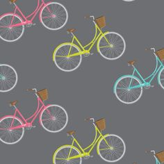 """Vintage bicycles on a charcoal background wrapping paper. """"Townie""""-style bicycles in retro colours."""