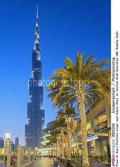 View of Burj Khalifa tower and Dubai Mall in United Arab Emirates UAE Middle East
