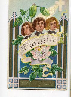 Easter  Vintage Greetings Postcard Choir by sharonfostervintage, $2.00