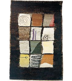 """Ruth Löbe Boden- und Wandteppich """"Zeichen"""" Naturwolle handgesponnen schwere/dicke Qualität 150 x 250 oder 200 x 300 cm"""