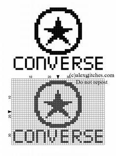 Small Converse logo free cross stitch pattern - free cross stitch patterns by Alex Crochet Chain Stitch, Crochet Cross, Knitting Charts, Baby Knitting Patterns, Cross Stitch Designs, Cross Stitch Patterns, Marvel Cross Stitch, Converse Logo, Pixel Art Grid