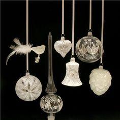 Bílý set skleněných ozdob  /Czech christmas ornaments from Glassor.cz