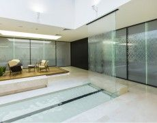 Glass Waterfall, Modern Glass, Water Features, Indoor, Interior, Wall, Room, Furniture, Home Decor
