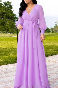 Solid Deep V Neck Long Sleeve Belted Maxi Dress – Prilly plus size dress maxi dresses maxi skirt outfit maxi dress outfit maxi dress summer maxi dress casual long dress casual summer dress outfit Long African Dresses, Latest African Fashion Dresses, African Print Fashion, Latest Fashion, Fashion Today, Cheap Fashion, Trendy Fashion, Fashion Shoes, Women's Fashion