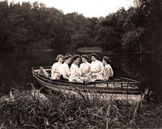 Group of ladies enjoying the day on the river. (1896 - 1912)