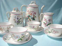 RARE Antique 1885 HAVILAND LIMOGES Porcelain TEA SET hand paintd FLOWERS France | eBay