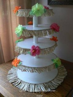 Luau Party Ideas – DIY Crafty Projects would my cupcakes fit on this? I'll n… - Party Ideas Aloha Party, Hawai Party, Luau Theme Party, Hawaiian Luau Party, Hawaiian Birthday, Hawaiian Theme, Luau Birthday, Tiki Party, Party Themes