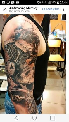 40 Amazing Motorcycle Tattoos No More Biker themed Tattoo Inspiratitions. Old school vintage styled biker tattoos Harley Tattoos, Harley Davidson Tattoos, Biker Tattoos, Motorcycle Tattoos, Badass Tattoos, Arm Tattoos, Skull Tattoos, Body Art Tattoos, Tattoos For Guys