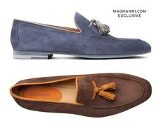 Magnanni Videl in Navy or Midbrown. Hand finished suede tassel loafer exclusively available at www.magnanni.com/search?q=videl #Magnanni #Loafers #MensShoes