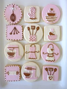 Pink, Brown & Cream Kitchen Themed Cookies