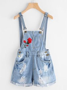 To find out about the Rose Embroidered Destroyed Denim Dungaree Shorts at SHEIN, part of our latest Denim Overalls ready to shop online today! Denim Dungaree Shorts, Dungarees Outfits, Denim Romper, Denim Overalls, Denim Skirt, Girls Fashion Clothes, Teen Fashion Outfits, Girl Outfits, Cute Casual Outfits