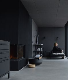 The Vipp shelter is set in the Swedish forests designed by Morten Bo Jensen showcasing Vipp's incredible designs. Here I experience a weekend at the Vipp shelter and a dream come true. You can book it too. Shelter, Forest Design, Dark Interiors, Lounge Areas, Concrete Floors, One Bedroom, Minimalist Home, Home Interior, New Homes