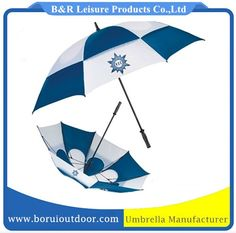 Strong golf umbrella double layer blue and white, with hole vented manual open_windproof golf umbrellas_high quality umbrellas