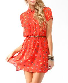 Colorful Floral Shirtdress w/ Belt