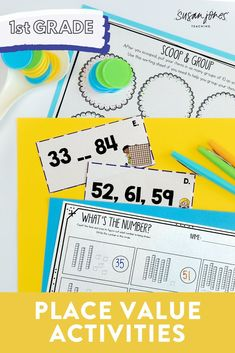 These place value activities and worksheets are the perfect hands on, interactive games for first grade!