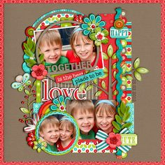 """Together"" scrapbook page layout - Scrapbook.com / love the colors"