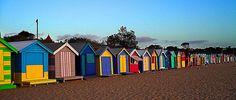 colorful beach huts, Brighton Beach in Melbourne, Australia