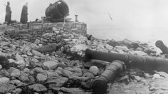 Gallipoli War, Ancient Ottoman Cannons Destroyed on the Ground in Seddul Bahr, Dardanelles, 1915
