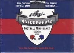 2012 Leaf Autograph Mini Football Helmet box . $114.99. Leaf is pleased to announce the return of its very exciting signed mini-helmet product. The 2012 edition has an even stronger checklist than its previous release. >>> Each sealed box contains ONE hand-signed mini-helmet. Each helmet is accompanied by the Leaf Authentics Hologram and credit card style Certificate of Authenticity.Checklist includes John Elway, A.J. Green, Cam Newton, Ben Roethlisberger, Michael ...