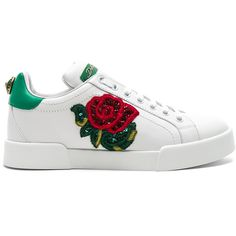 Dolce & Gabbana Sequin Rose Leather Sneaker (3,130 MYR) ❤ liked on Polyvore featuring shoes, sneakers, genuine leather upper shoes, rose sneakers, rose shoes, rubber sole shoes and sequin shoes
